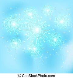 Firework on blue