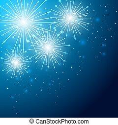 Firework on blue sky