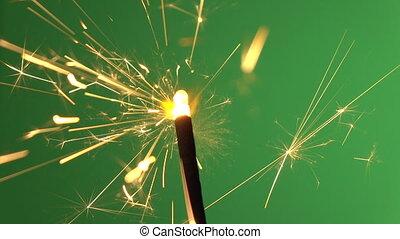 Firework on green screen background