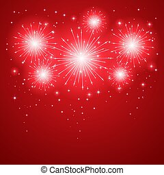 Firework on red background