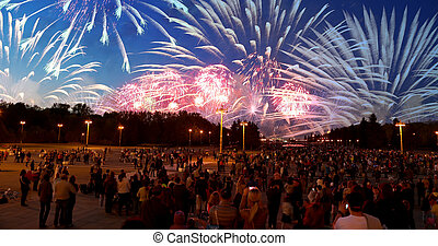 Firework on Victory Day, Moscow, Russian Federation (MAY 09,...