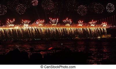 Firework over bridge.