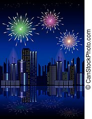 Firework over city at night with reflection in water