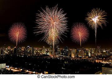 Firework over city bangkok in Thailand