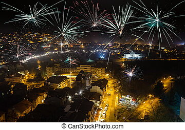 Firework over city Veliko Tarnovo