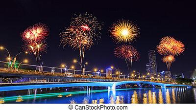 firework over Jubilee bridge, Singapore - beautiful firework...