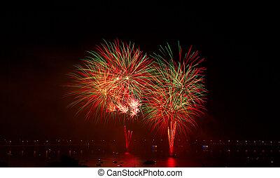 firework over river
