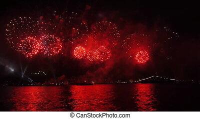 Firework over sea.