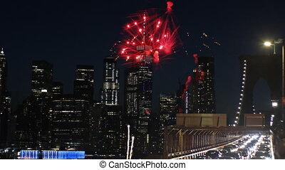 Firework over the sunset background Manhattan island in New...