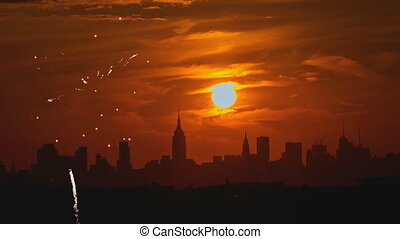 Firework over the sunset background Manhattan island in New...