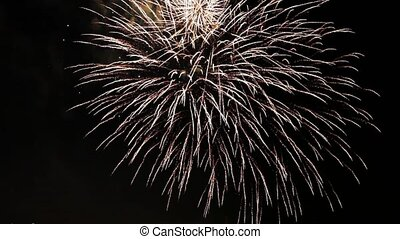 Firework pyrotechnic show - Close up of firework pyrotechnic...