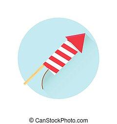 Firework red rocket icon.