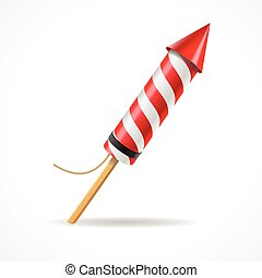Firework red rocket. Vector - Firework red rocket isolated...