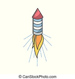 firework rocket icon over white background. colorful design....