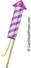 Firework rocket in purple design with burning wick on white...