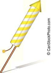 Firework rocket on a white background. Vector illustration.