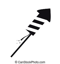 Firework rocket silhouette on a white background, Vector...