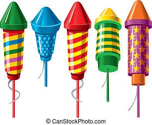 Firework rockets - Set of firework rockets. Vector.