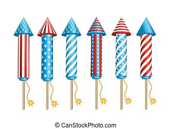 Firework rockets in American national flag colors. -...
