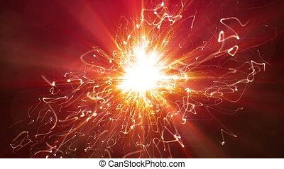 Firework sparkler burning in macro shot, slow motion