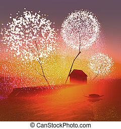 Firework trees on an island.