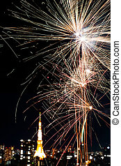 firework upon tokyo tower - firework in japans main city...