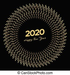Firework with inscription 2020 and Happy New Year