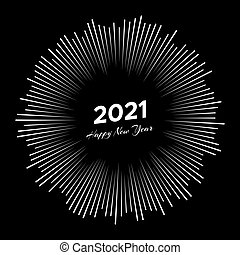 Firework with inscription 2021 and Happy New Year