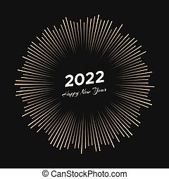 Firework with inscription 2022 and Happy New Year
