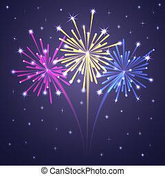 fireworks., éclairé, coloré