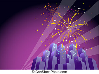 Fireworks 1 - Illustration of searchlights in the sky and...