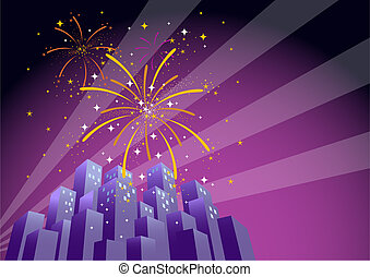 Fireworks 2 - Illustration of searchlights in the sky and...