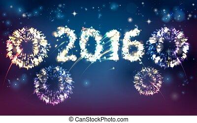 Fireworks 2016 Background - Fireworks reading 2016. Concept...