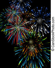 Fireworks - 3D illustration, wallpaper, background....