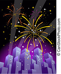 Fireworks 4 - Illustration of searchlights in the sky and...