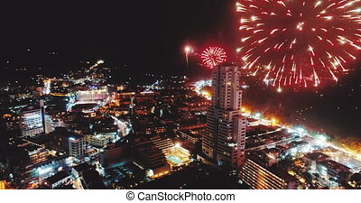 Fireworks above the city on New Year's Eve