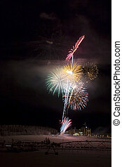 Fireworks above the field