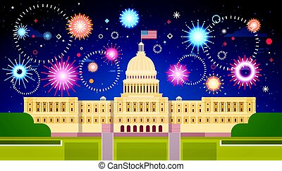Fireworks Above White House, United States Independence Day Holiday 4 July Concept