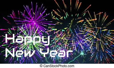 Fireworks against New Year sign 4k