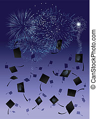 Thrown graduation caps against a fireworks display background
