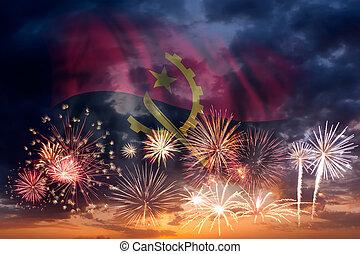 Fireworks and flag of Angola