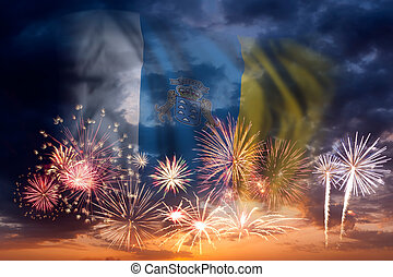 Fireworks and flag of Canary Islands