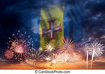 Fireworks and flag of Madeira