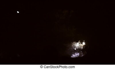 Fireworks and moon in super slow motion - Fireworks, moon...