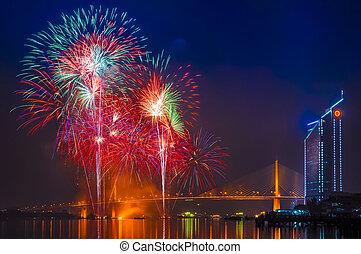 Fireworks and Rama 9 Bridge at Chaopraya river, Bangkok Thailand