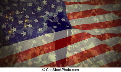 Animation of figure of soldier saluting, American flag stars and stripes waving and fireworks on camouflage pattern. American flag patriotism concept digitally generated image.