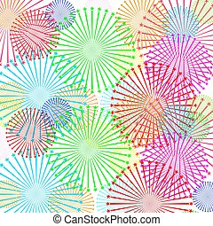 Fireworks and stars in national American colors. Vector illustration isolated on white background