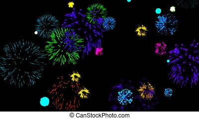 fireworks., animatie, cg, abstract, achtergrond