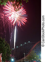fireworks at amusement park