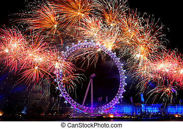 London Eye - Fireworks at London Eye UK